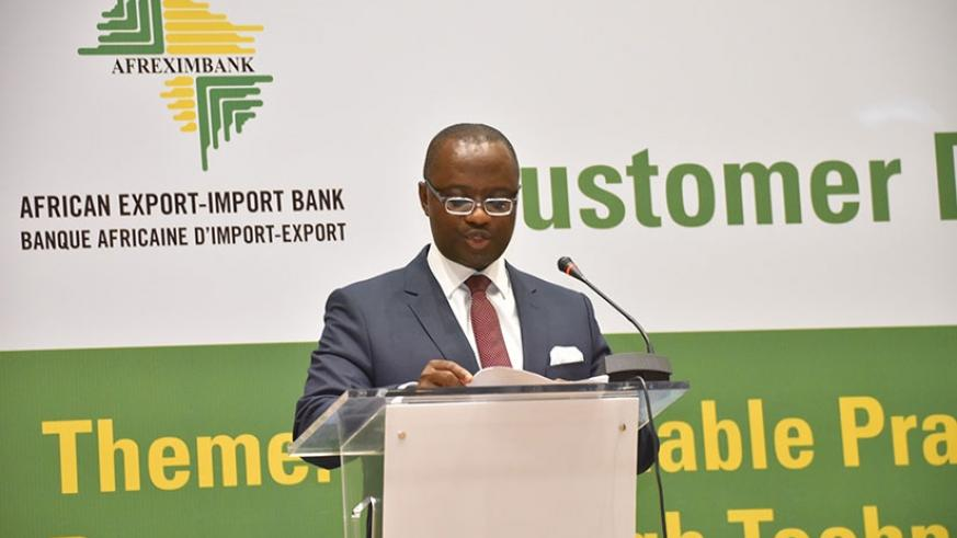 Afreximbank's Elombi called for tough measures to tackle financial crimes in Africa. (Timothy Kisambira.)