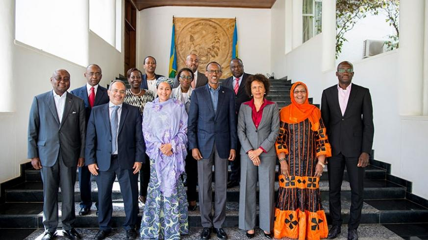 President Kagame in a group photo with members of the AU Reform Steering Committee after a consultative meeting in Kigali yesterday. / Village Urugwiro