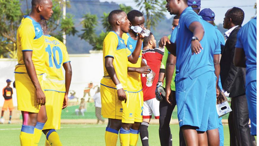 Mashami (R) issues instructions to Amavubi players during a past match. The Bugesera FC head coach has been handed an interim role of coaching the U20 Amavubi side ahead of a youth....