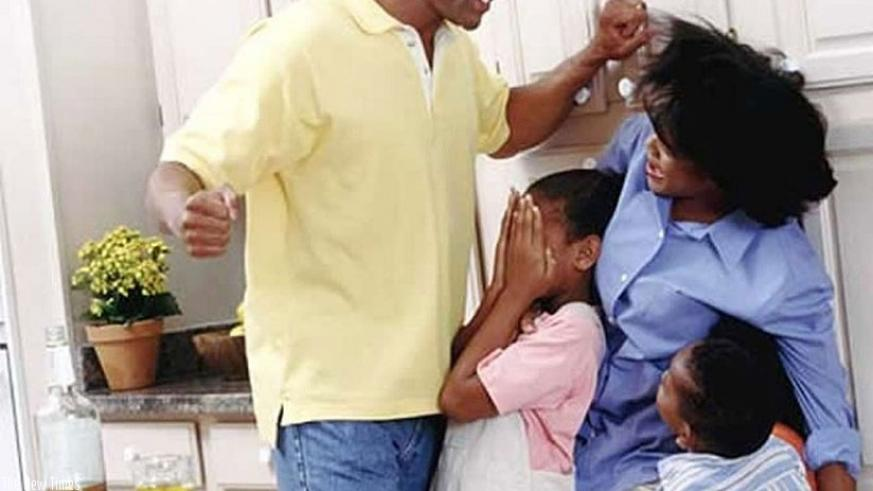 A man batters his wife in the presence of their children. Such behaviour is said to cause  trauma in children. (Net photo)