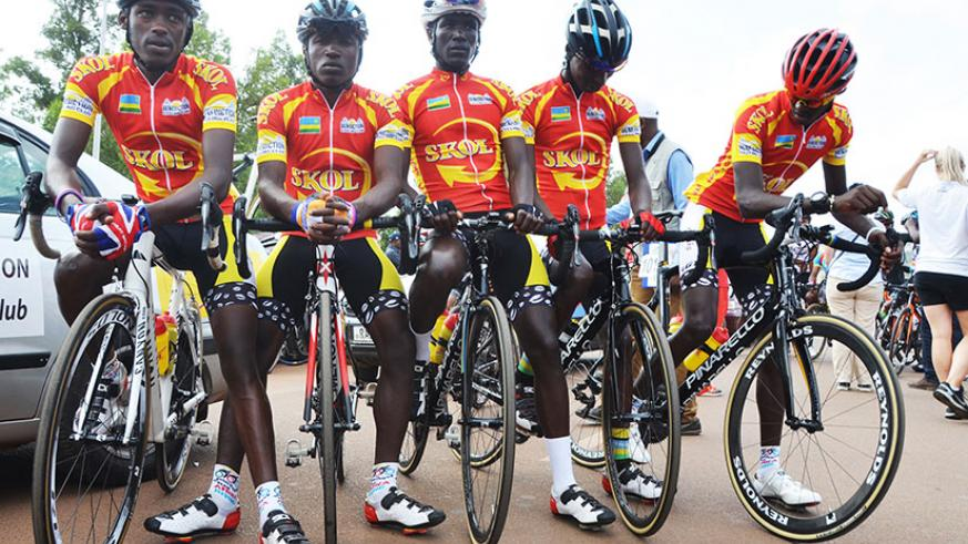 The Club Benediction riders pose for a group photo during the 2016 Tour du Rwanda. Far right is Mugisha who won the best climbers' award 2016. / Sam Ngendahimana