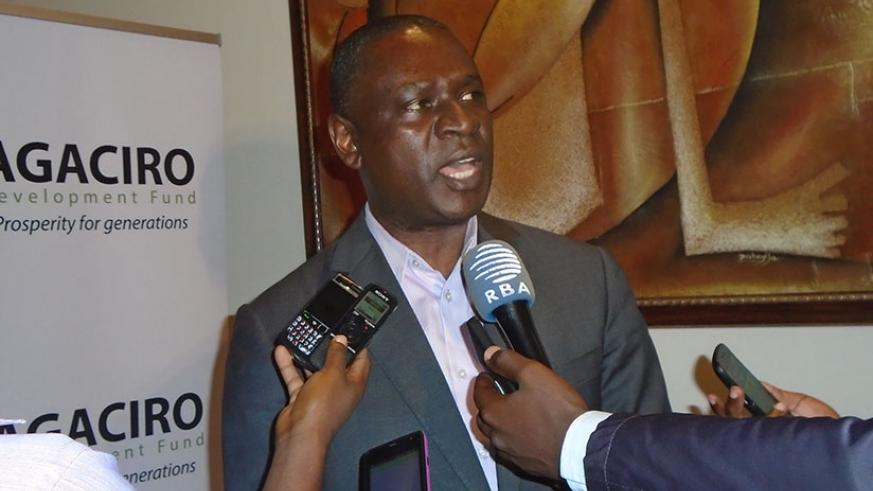 Gasamagera talks to the media after the event on Thursday. / Steven Muvunyi