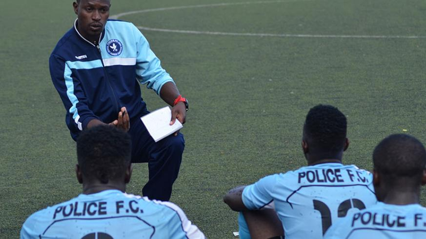 Innocent Seninga, seen here talkig to his players, is confident that a win against his former club would pile more pressure on table leaders Rayon Sports. / Sam Ngendahimana