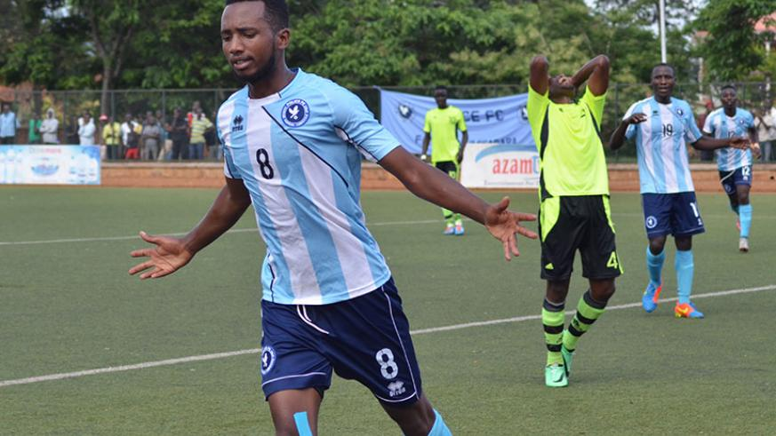 Justin Mico netted Police FC's second goal in the 27th minute, to push his tally to four goals in nine matches. / Sam Ngendahimana