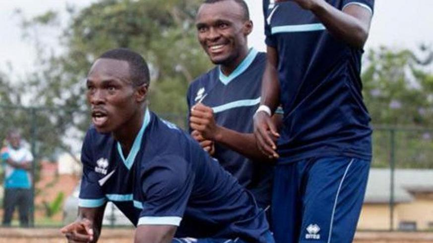 Gabriel Mugabo (C) celebrates with his teammates after scoring for Police FC in the 5-0 win against SC Kiyovu two seaons ago. (File photo)