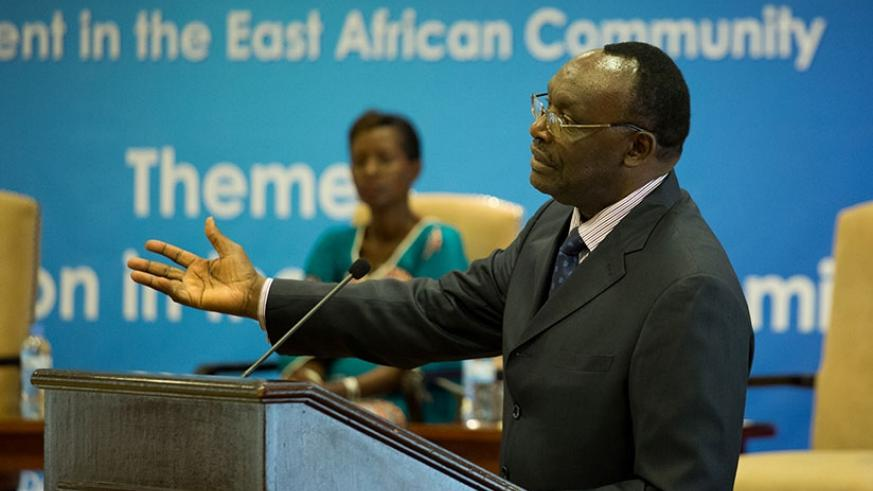 Kanimba speaks at the meeting in Kigali yesterday. (All photos by Timothy Kisambira)