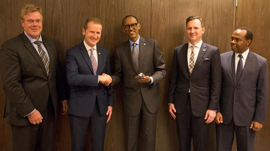 President Kagame meets with the Chairman of Volkswagen, Dr Herbert Diess (second left), Thomas Schafer, chief executive of Volkswagen South Africa (second right), German Ambassador....
