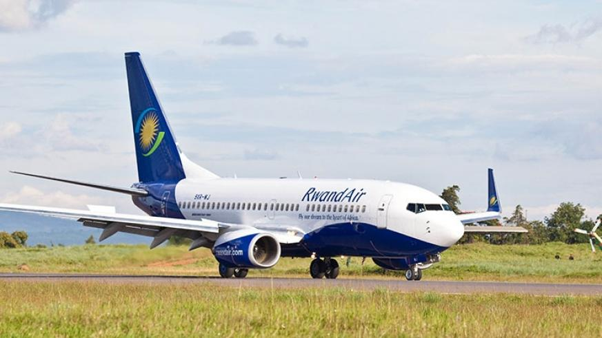 A RwandAir plane arrives at Kigali International Airport. (File phot)