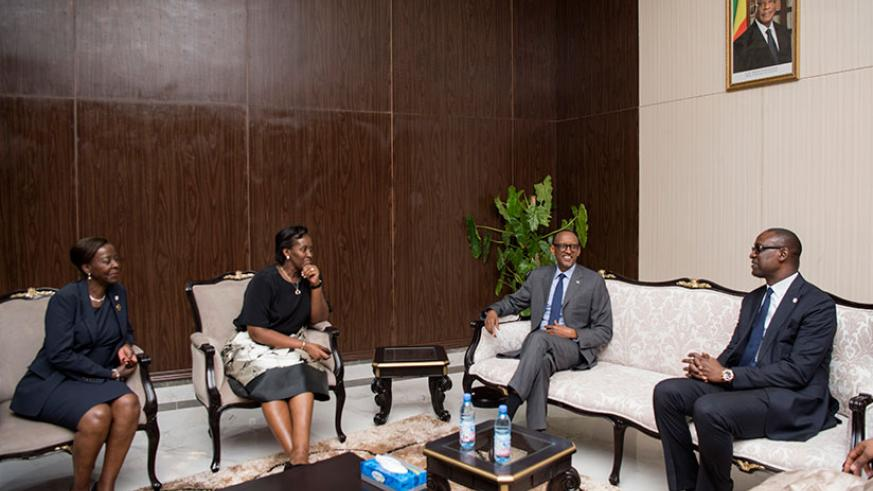 President Kagame, Malian Minister of Foreign Affairs Abdoulaye Diop (R), First Lady Jeannette Kagame (L) and Foreign Affairs Minister Louise Mushikiwabwo in Bamako yesterday. / Vil....