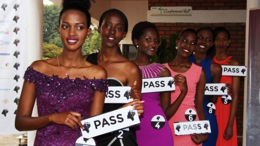 The six Miss Rwanda 2017 contestants from the Northern Province on Sunday. (Faustin Niyigena)