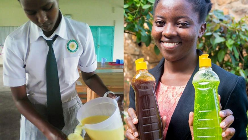 Rachael Nikuze (left) packages the soap as Benimana poses with the repellent product. Courtesy.