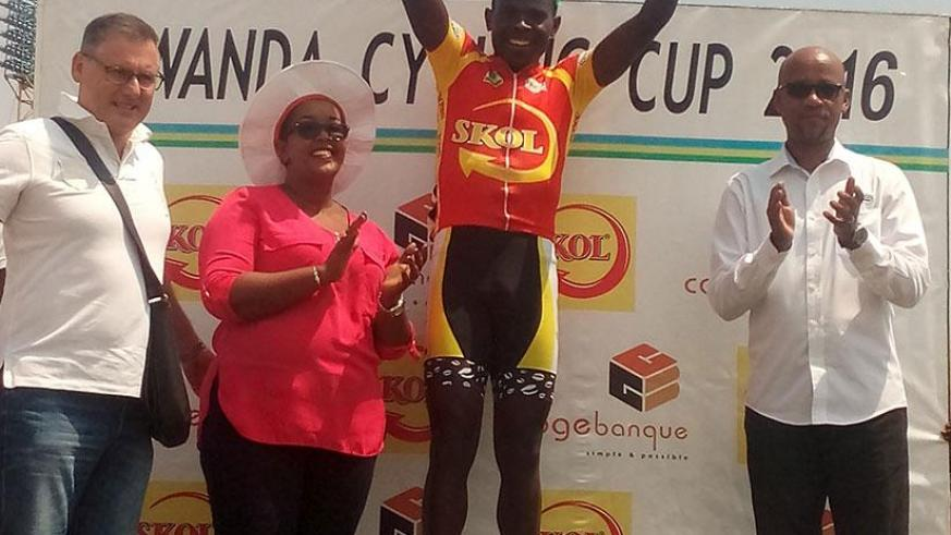 Gasore celebrates after being crowned the 2016 Rwanda Cycling Cup champion. / Courtesy