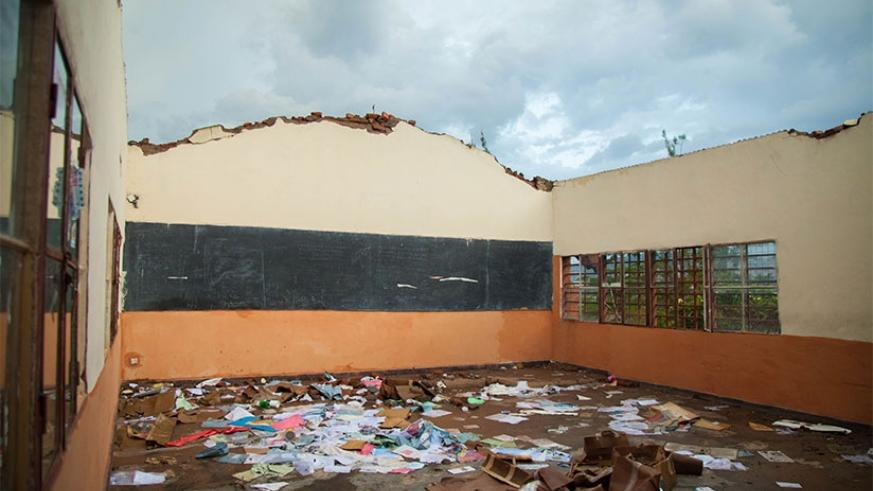 What was left of one of the classrooms that were destroyed by heavy rain on Saturday at APACE school in Nyarugenge District. Nadege Imbabazi.