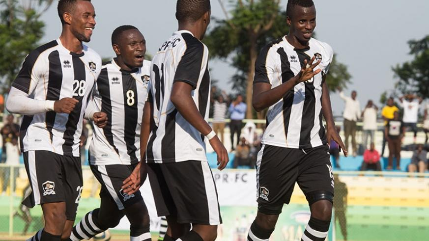 APR FC players celebrate after scoring in a recent league game. S. Ngendahimana.