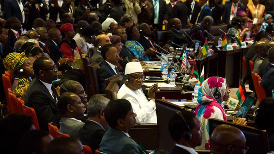 Delegates during the AU Summit in Kigali last year. / File.