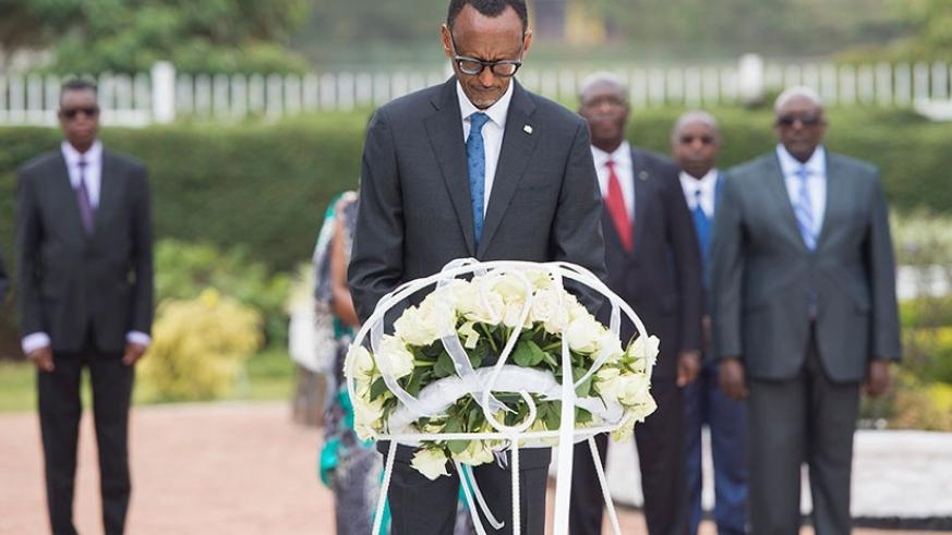 President Kagame pays tribute to fallen heroes at the Heroes Mausoleum in Remera, Kigali, yesterday after laying a wreath in their honour. (Village Urugwiro)