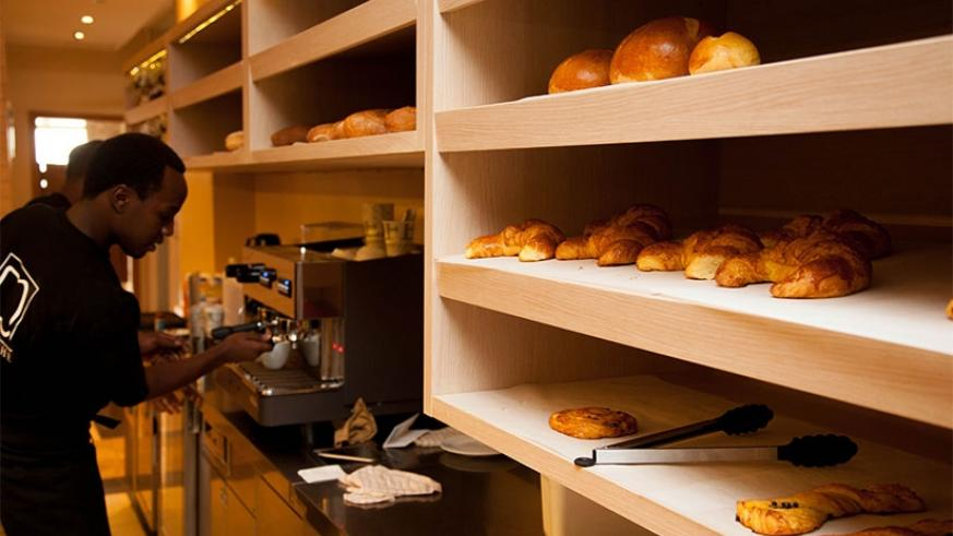 Different types of bread on display in a coffee shop in Kigali. Timothy Kisambira.