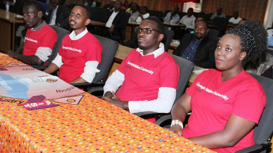 [From left] Kayondo, Kabagamba, Rwema and Gasana waiting for the winner to be announced. (Courtesy photos)