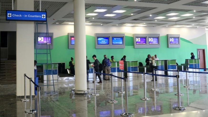 The check-in counters at the newly refurbished departure section. John Mbanda