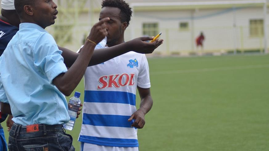 Rayon Sports coach, Djuma Masudi, gives instructions during a local league game against Pepiniere. His side are favourites to advance to the next round. (S. Ngendahimana)