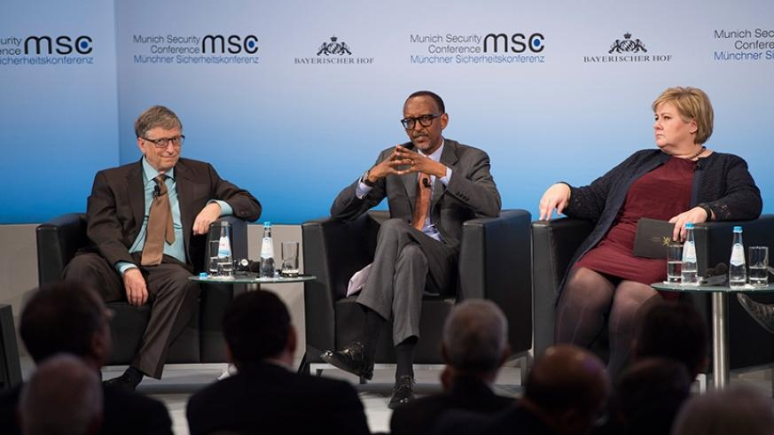 "President Kagame, Microsoft founder Bill Gates and Erna Solberg, Prime Minister of the Kingdom of Norway speak on a panel discussion at the ""Health Security: Small bugs, Big Bombs""...."