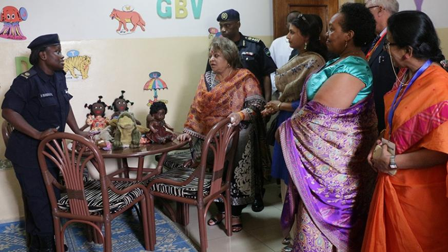Mrs. Salma Ansari (L) during her visit to Isange One Stop Centre in Kacyiru yesterday. Courtesy.