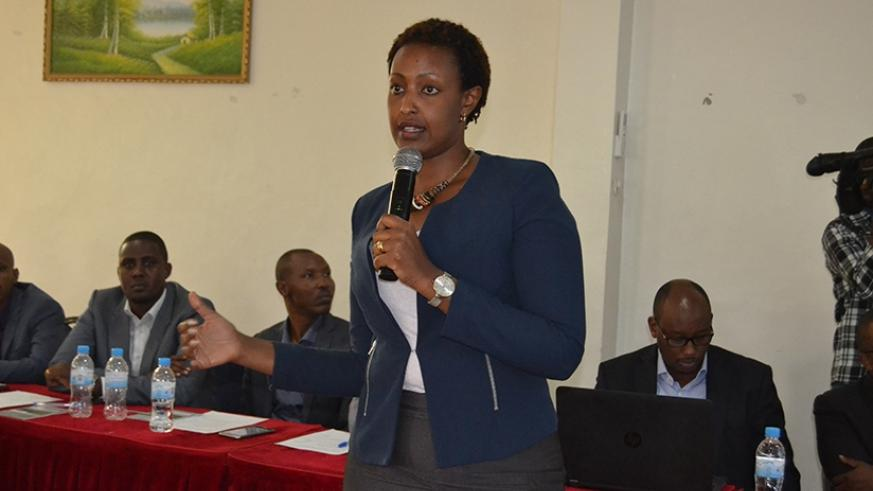 Kanyambo speaks on the youth agri-business support project under its quasi-equity scheme in Kicukiro District on Tuesday. (Emmanuel Ntirenganya)