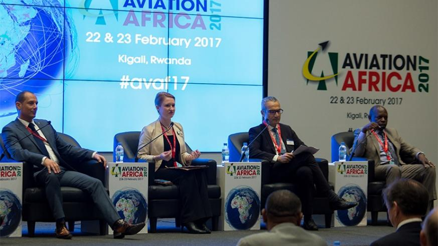 Experts discuss strategies to reduce carbon emissions in aviation industry during the Aviation Africa 2017 Forum in Kigali yesterday. Timothy Kisambira.