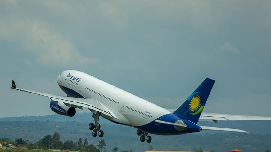 One of RwandAir planes takes to the skies. File.