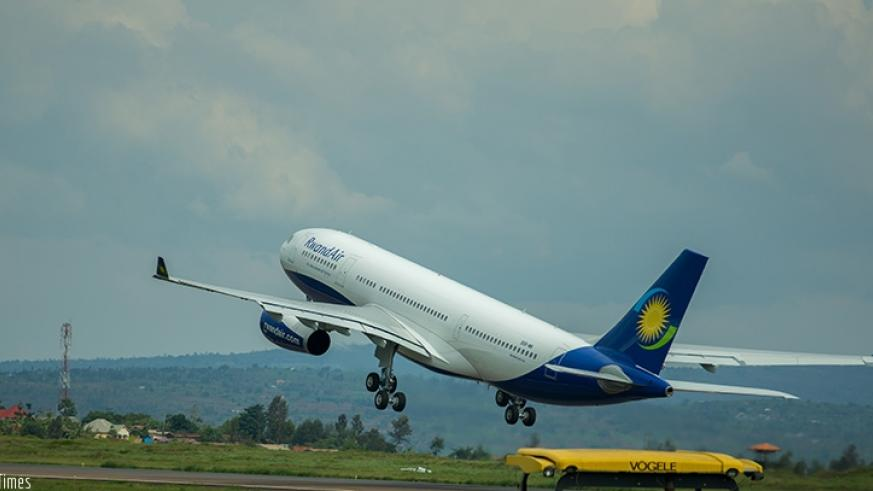 A RwandAir plane takes to the skies. File