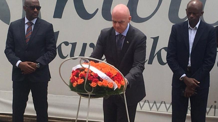 Gianni Infantino visited the Kigali Genocide Memorial Centre in Gisozi on Sunday to pay tribute to victims of the 1994 Genocide against the Tutsi. (Courtesy)