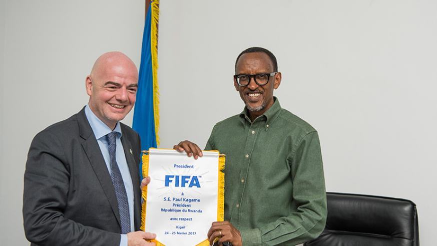 President Kagame receives FIFA chief Gianni Infantino at Gabiro in Eastern Province on Sunday. Village Urugwiro.