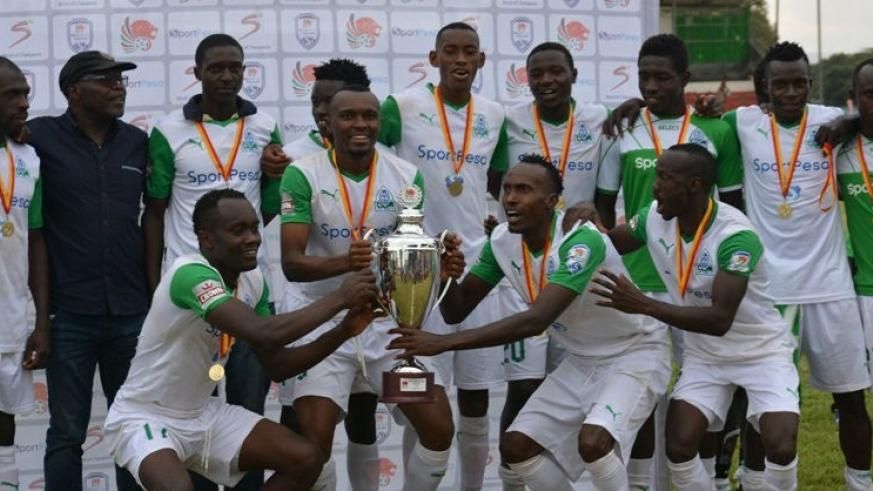 Gor Mahia players celebrating the Kenyan Super Cup title after beating Tusker 1-0 on Sunday. / Courtesy