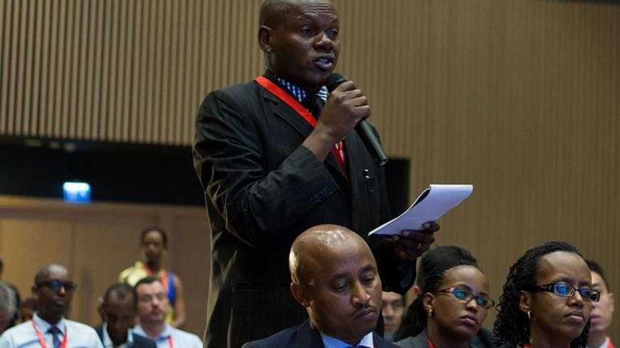 A delegate speaks during last year's inaugural aviation and hospitality summit in Kigali. / Timothy Kisambira.