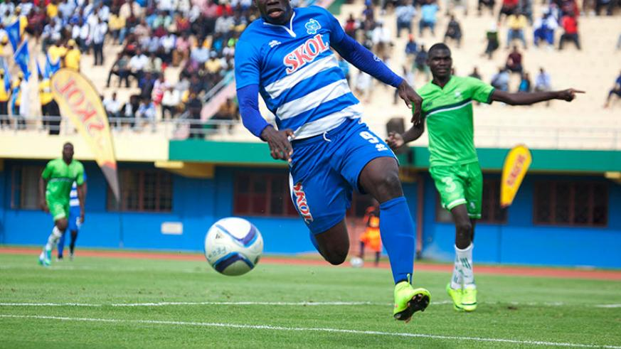 Malian striker Mousa Camara, pictured here in action against South Sudan's Al Wau Salaam last month at Amahoro National Stadium, will lead the line for Rayon against his compatriot....