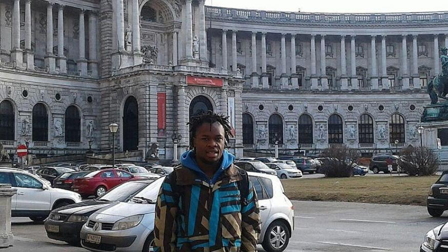 Karekezi stands in front of the National Library in Vienna. / Courtesy