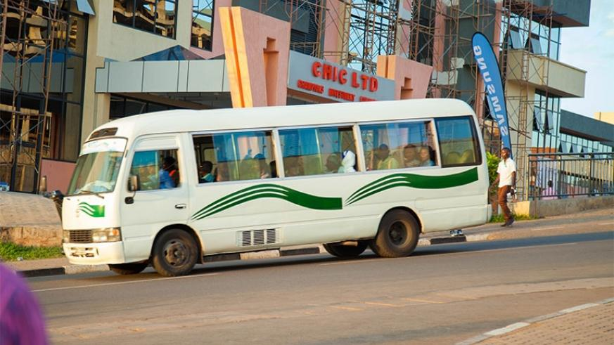 A public transport bus in downtown Kigali. Nadege Imbabazi.