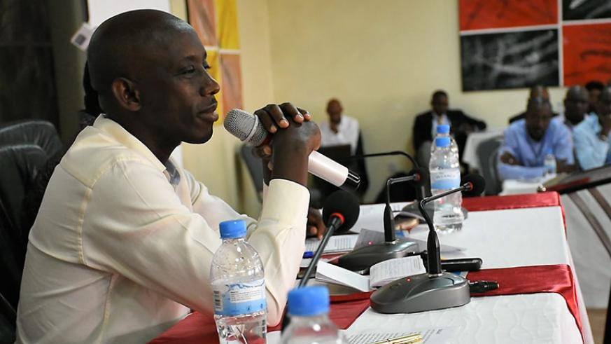 Kaboneka addresses the local government leaders during the retreat. Courtesy