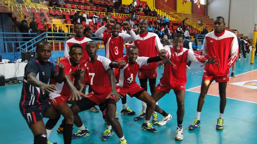 Rwanda's UNIK celebrate after registering their first victory against Espoir VI of DR Congo on Sunday. / Coutesy