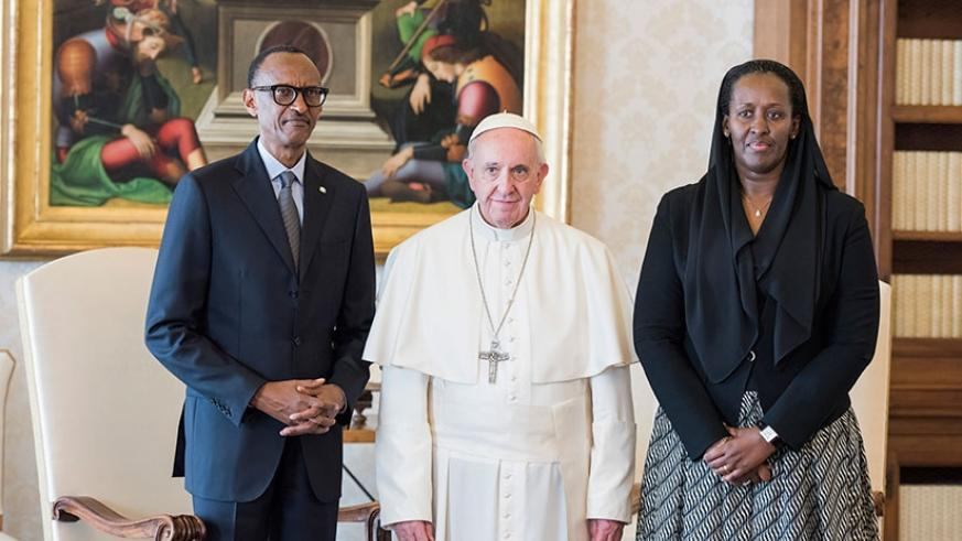 President Kagame and First Lady Jeannette Kagame meet with Pope Francis in the Vatican City yesterday. During the meeting, the President and the pope discussed the relationship bet....