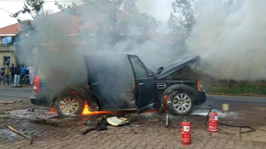 A vehicle burns in a Kigali suburb. Some insurers find difficulty in paying compensation because they sell premiums at low prices, weakening their financial positions. / File.