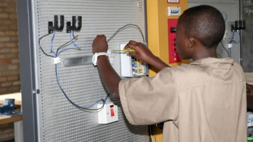 A trainee at IPRC-South doing electrical installation. File.