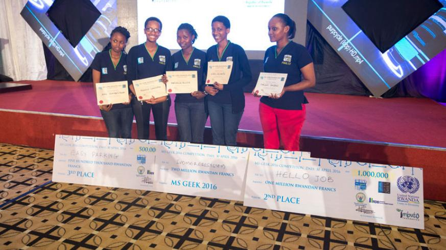 Ms Geek 2016 finalists pose with their rewards. This year's competition will include several African countries. / File