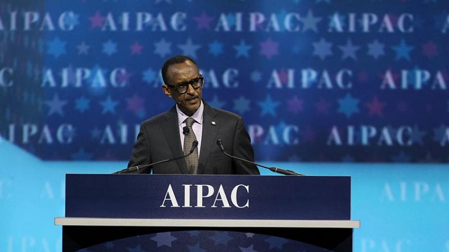 President Kagame addresses the 2017 AIPAC Policy Conference, an annual pro-Israel gathering, in Washington DC, yesterday. Kagame called for global solidarity against efforts to den....