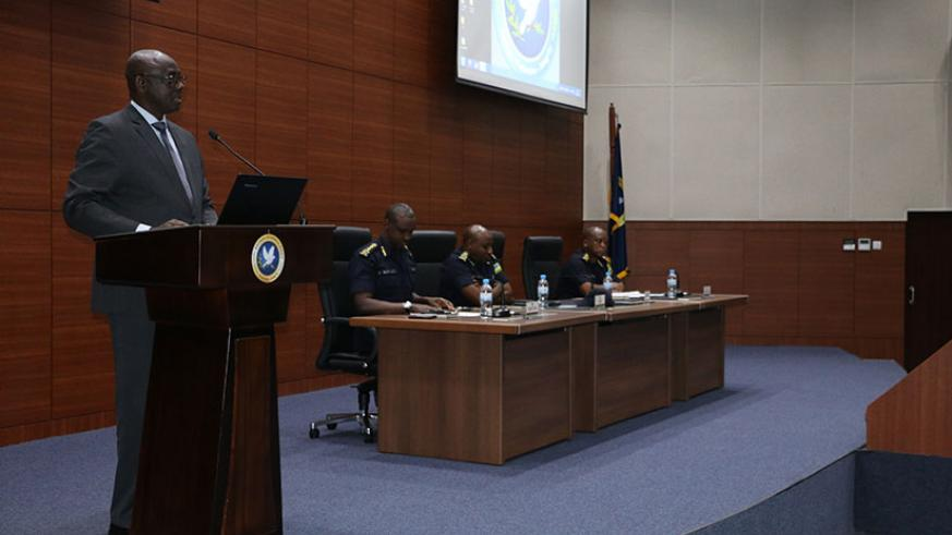Minister of Justice, Johnstone Busingye addressing the Police High Council