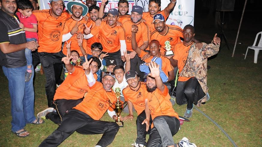Kigali Cricket Club players celebrate after being crowned champions of this year's VR Naidu T20 tourney on Sunday. Pontian Kabeera