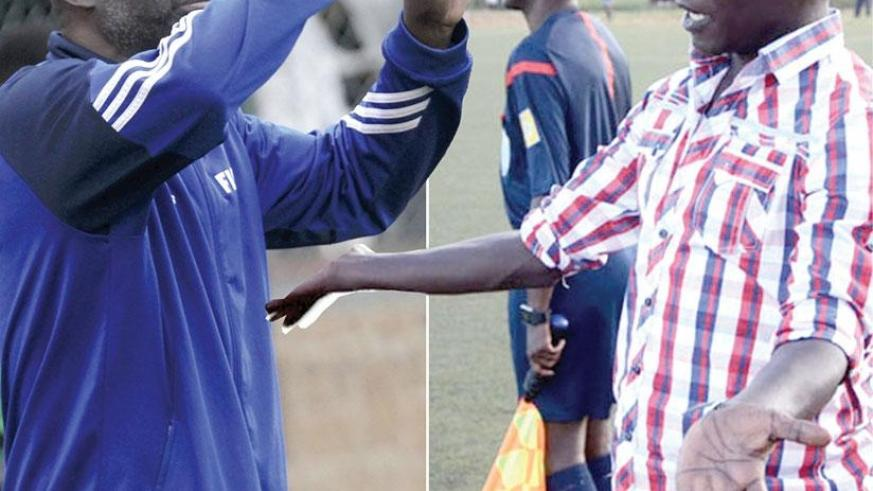 Nduhirabandi (R) has warned his players that they must improve their performance against Okoko's Gicumbi if the team is to avoid relegation. (S. Ngendahimana)