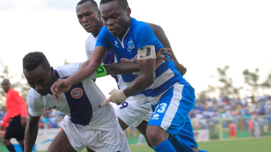 Rayon Sports captain Pierrot Kwizera, right, scored his 9th league goal of the season in the 3-1 win over Sunrise FC on Wednesday. S. Ngendahimana