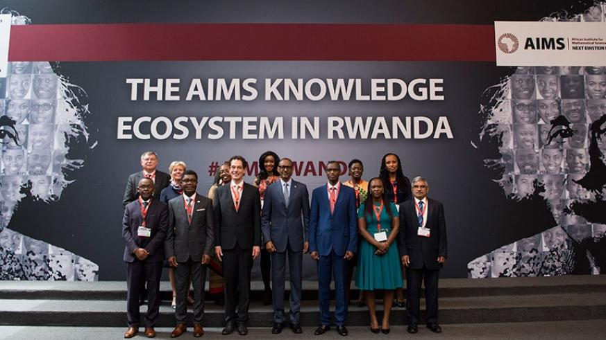 President Kagame with senior officials and partners of the African Institute for Mathematical Sciences, at Kigali Convention Centre, yesterday. The President said that for Africa t....