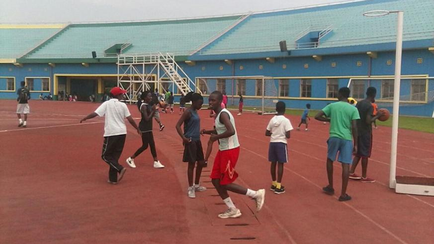 Children engage in sports activities at Amahoro National Stadium recently.  (Photo by Lydia Atieno)